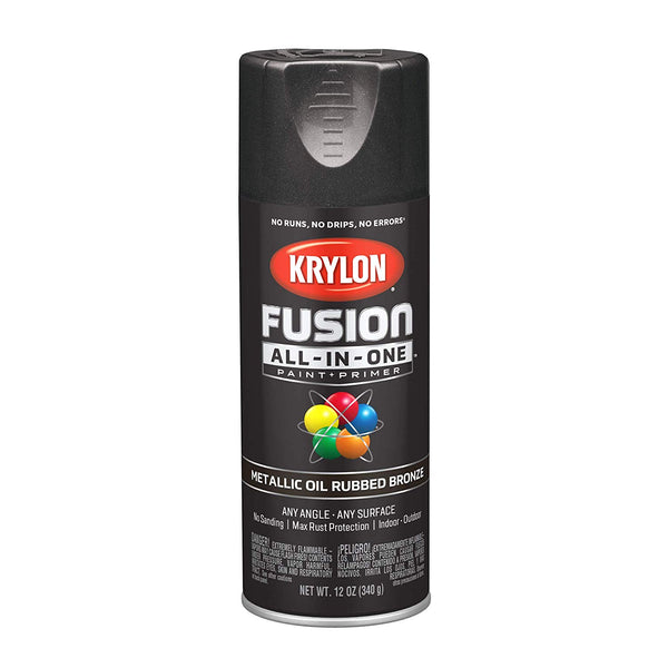 Krylon K02771007 Fusion All-In-One Spray Paint 12 Oz, Metallic Oil Rubbed Bronze