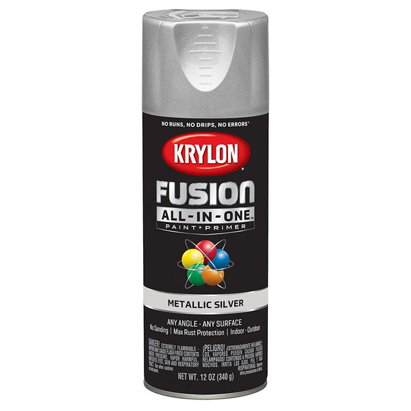 Krylon K02773007 Fusion All-in-One Spray Paint + Primer, Metallic Silver, 12 Oz