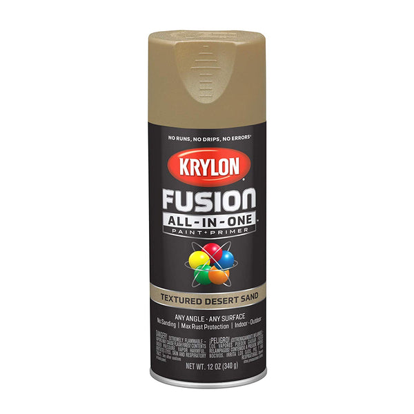 Krylon K02781007 Fusion All-In-One Paint Spray, Textured Desert Sand, 12 Oz