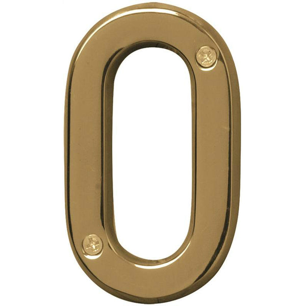 Hy-Ko BR-42PB/0 Prestige Solid Brass House Number 0, Polished Brass, 4""