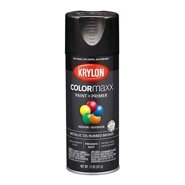 Krylon K05585007 COLORmaxx Paint+Primer Spray, Metallic Oil Rubbed Bronze, 12 Oz