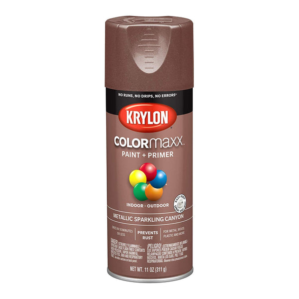 Krylon K05586007 COLORmaxx Paint+Primer Spray, Metallic Spraking Canyon, 12 Oz