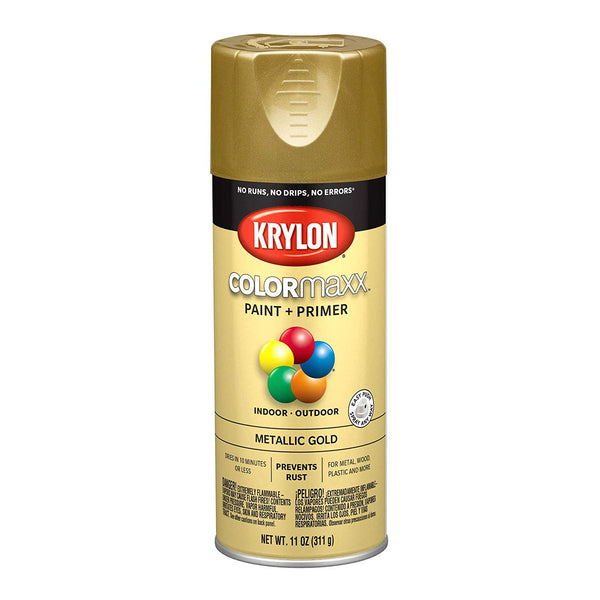 Krylon K05588007 COLORmaxx Paint+Primer Spray, Metallic Gold, 12 Oz