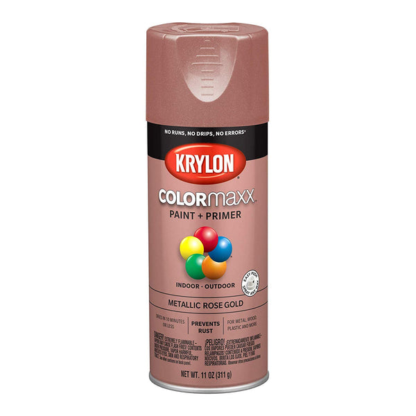 Krylon K05593007 COLORmaxx Paint+Primer Spray, Metallic Rose Gold, 12 Oz