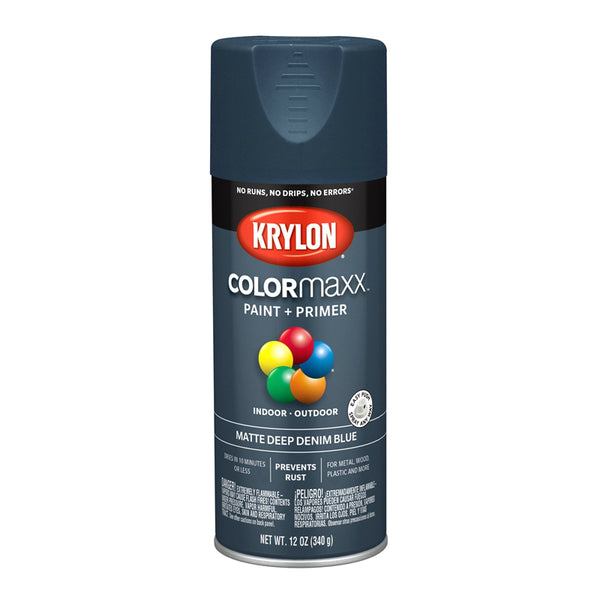 Krylon K05551007 COLORmaxx Paint + Primer Spray, Matte Deep Denim Blue, 12 Oz
