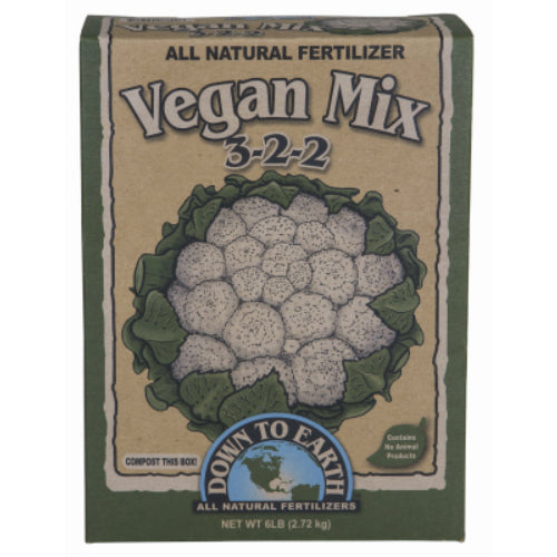 Down To Earth 07821 Vegan Mix All Natural Fertilizer, 3-2-2, 5 Lb