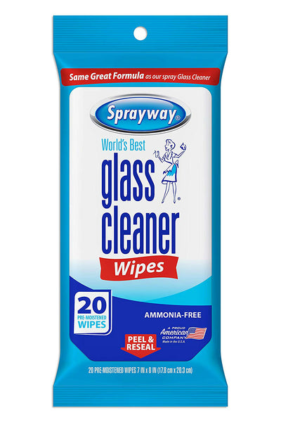 Sprayway SW199R Ammonia-Free Glass Cleaner Wipes, 20-Count