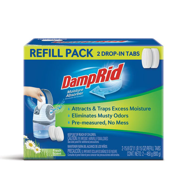 DampRid FG97 Drop-In Tabs Moisture Absorber Refills, Fresh Scent, 15 Oz, 2-Count