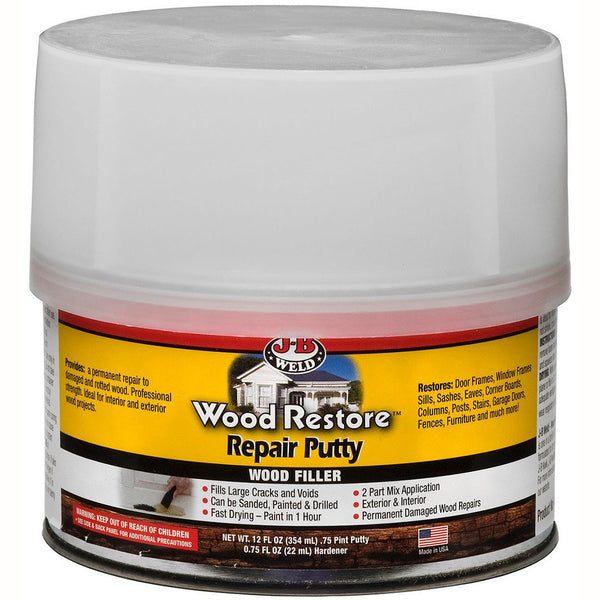 J-B Weld 40003 Wood Restore Repair Putty Wood Filler, 12 Oz