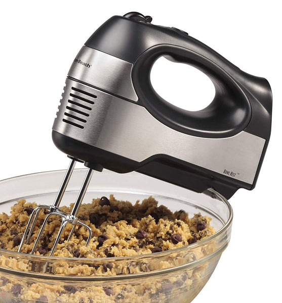 Hamilton Beach 62647 6-Speed Hand Mixer with QuickBurst & 5 Attachments, Black