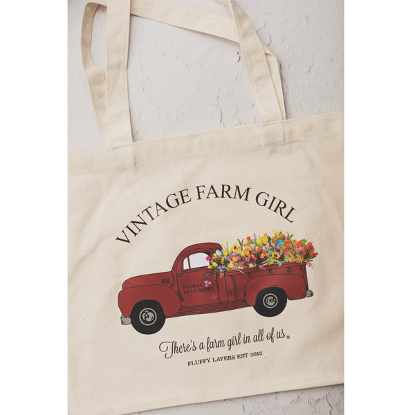 "Fluffy Layers TOTE3 Vintage Farm Girl Red Truck Tote Bag, 19"" x 23"""