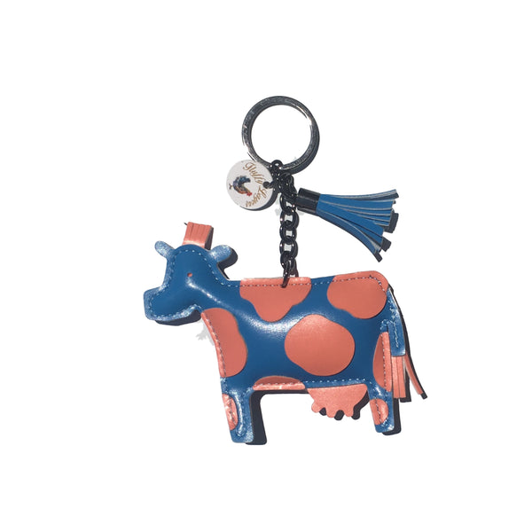 "Fluffy Layers FLKY103 PVC Cow Key Chain with Tassel, Blue & Coral, 4"" x 4"""