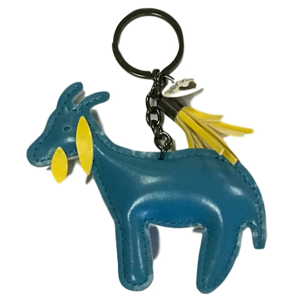 "Fluffy Layers FLKY105 PVC Goat Key Chain with Tassel, Blue & Yellow, 4"" x 4"""