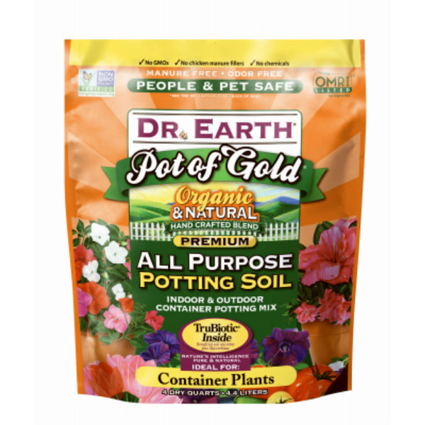 Dr. Earth 845 Pot of Gold Organic & Natural All Purpose Potting Soil, 16 Qt