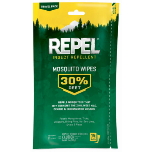 Repel HG-94100 Insect Repellent Mosquito Wipes, 15-Count