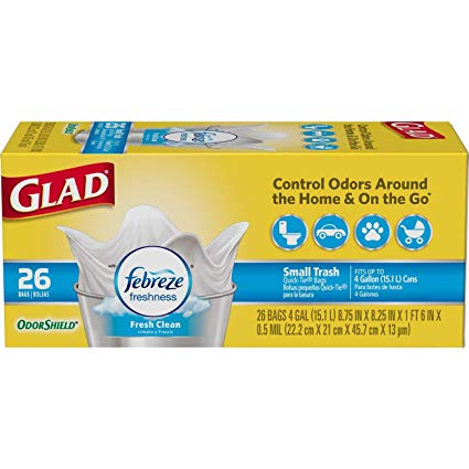 Glad 78812 Small Garbage OdorShield White Trash Bags, 4 Gallon, 26-Count