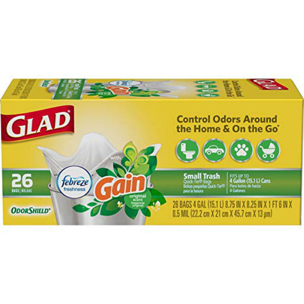 Glad 78814 Small Garbage OdorShield Trash Bags, Gain Original, 4 Gallon, 26-Ct