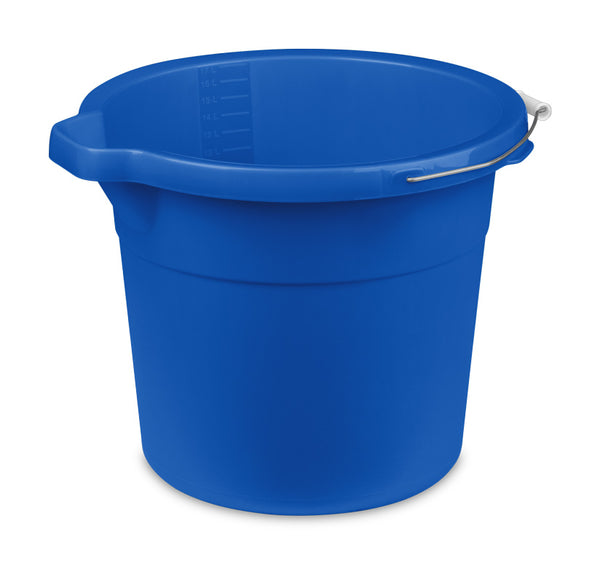 Sterilite 11251C06 Plastic Round Spout Pail with Wire Handle, Blue Morpho, 18 Qt