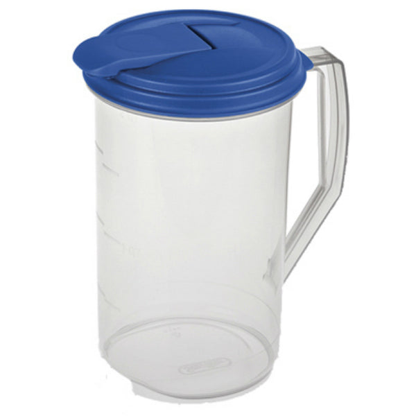 Sterilite 04860906 Round Pitcher with Hinged Flip-Top Lid, 2 Quart