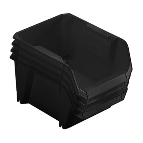 Stanley STST55304B Stackable Polypropylene Storage Bin, Black, #3, 4-Pack