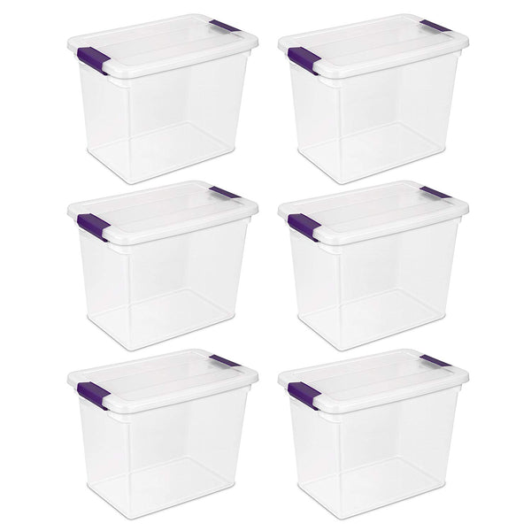 Sterilite 17631706 ClearView Latch Box with Sweet Plum Latches, 27 Qt