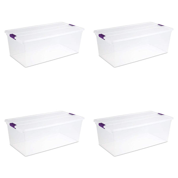 Sterilite 17641704 ClearView Latch Box with Sweet Plum Latches, 110 Qt