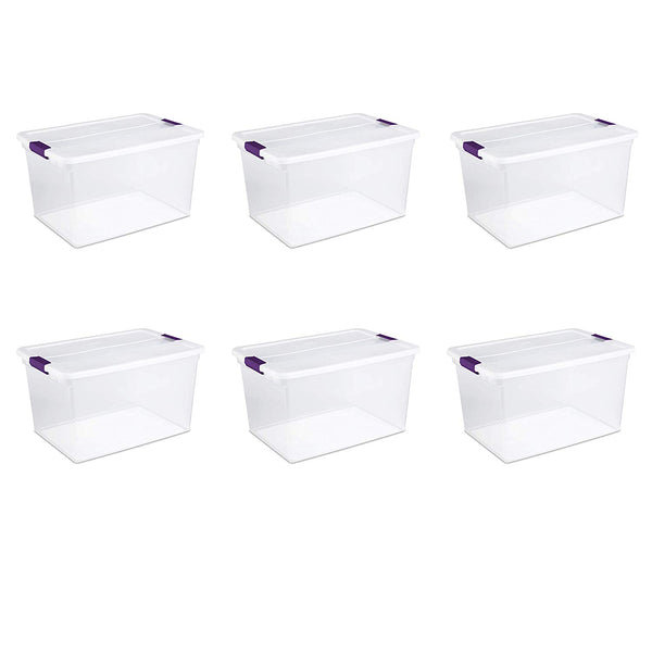 Sterilite 17571706 ClearView Latch Box with Sweet Plum Latches, 66 Qt