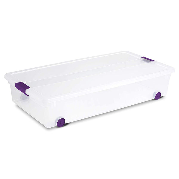 Sterilite 17611704 ClearView Latch Wheeled Underbed Box, 60 Quart