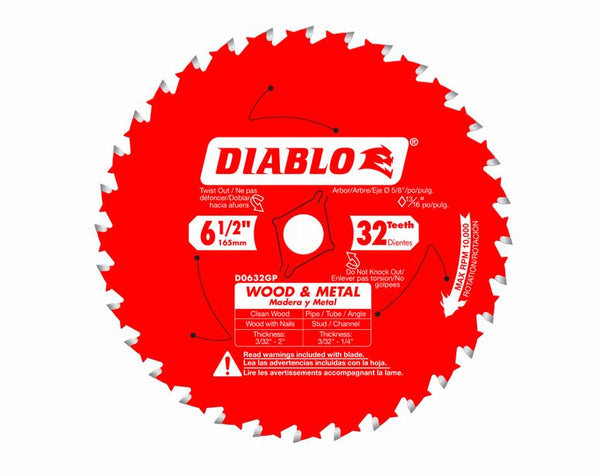 Diablo D0632GPX Wood & Metal Carbide Circular Saw Blade, 32 Tooth, 6‑1/2""