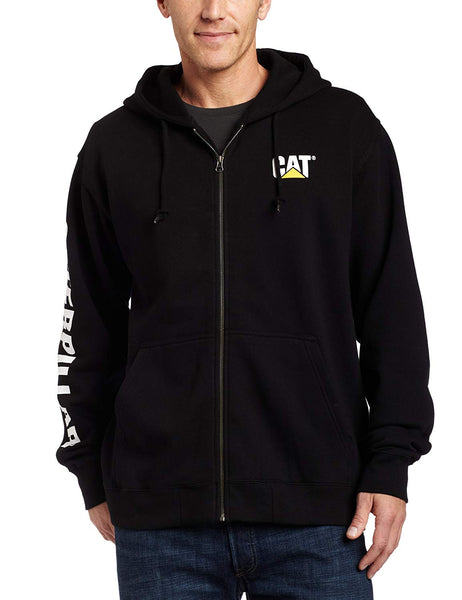 CAT W10840-016-L Full Zip Hooded Sweatshirt, Black, Large