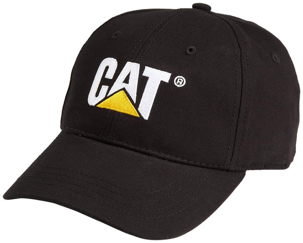 CAT W01791-016 Trademark Cap with Embroidered Front Logo, Black, One Size
