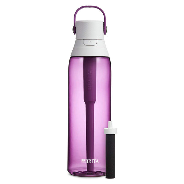 Brita 36383 Premium Hard Sided Plastic Filtering Water Bottle, Orchid, 26 Oz
