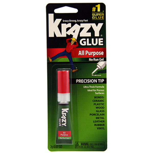 Krazy Glue KG58448MR All Purpose No Run Gel Glue with Precision Tip, 2-Gram