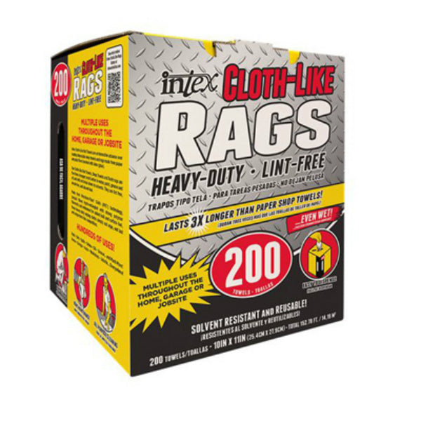 "Intex NW-00347-200 Heavy-Duty Cloth-Like Rags, 10"" x 11"", 200-Count"