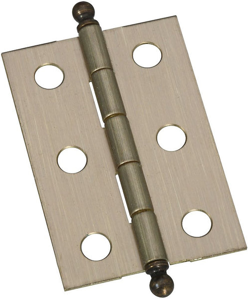 "National N213-553 Solid Brass Ball Tip Hinge, Antique Brass, 2""x1-3/8"", 2-Count"