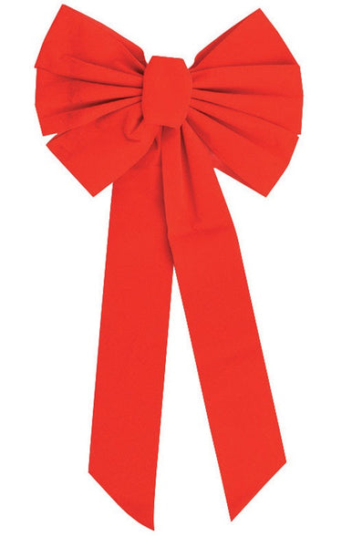 "Holiday Trims 7347 Velvet Bow,12"" x 26"", Red"