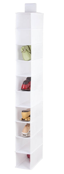 Honey Can Do SFT-01576 10-Shelf Non-Woven Hanging Shoe Organizer, white