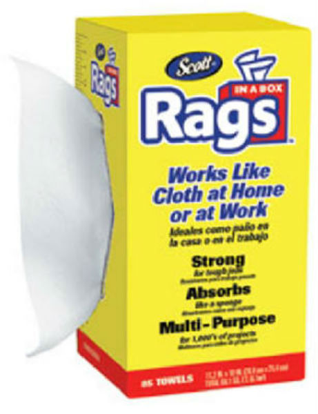 Scott® 75240 Rags In-A-Box with Easy Pop-Up Dispenser, White, 85-Count