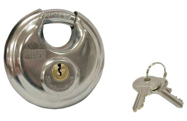 ProSource YB0070 Shielded Security Padlock, Stainless Steel, Silver, 1-3/4""