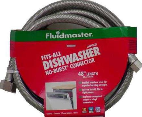 Fluidmaster 1W48CU Fits-All Dishwasher Connector Braided, 48""