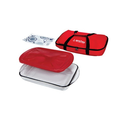 "Anchor Hocking 91087 Portable 4 Piece Insulated Bake Ware Set, 9"" x 13"""