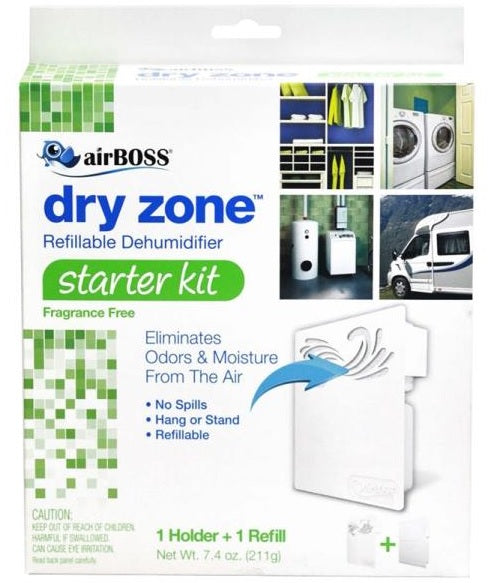 airBOSS 759.6 Dry Zone Refillable Dehumidifier Starter Kit, 7.4 Oz