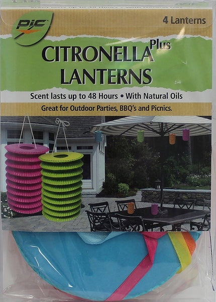Pic CYL-LAN Mosquito Repellent Citronella Plus Paper Lanterns, Pack of 4