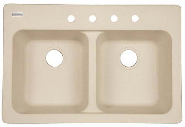 "Kindred FTS904BX Double Bowl kitchen  Sink, 9"", sand, tectont"