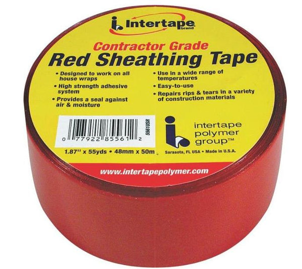 "Intertape 5561USR Sheathing Tape, 1.89"", Red"