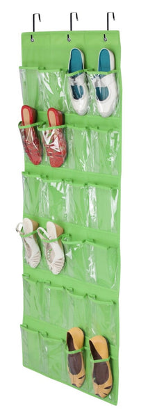 Honey Can Do SFT-02819 24-Pocket Shoe Organizer, Beige, Lime Green