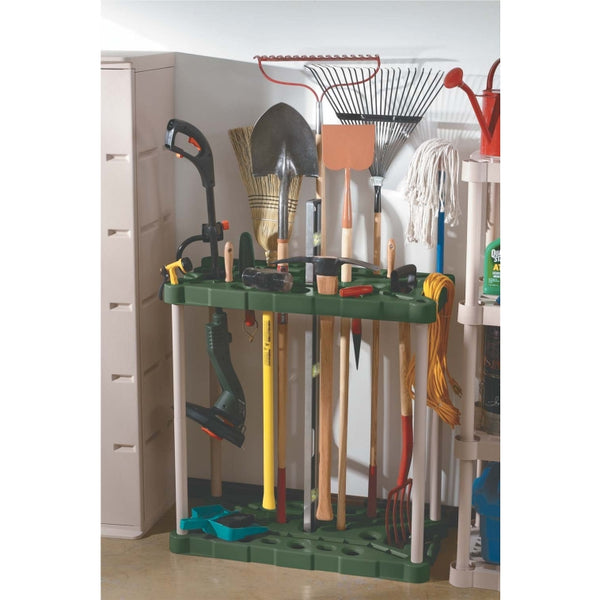 Rubbermaid 709218MICHR Long-Handle Tool Storage Unit, Mica/Charcoal