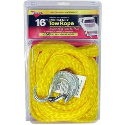 "Keeper 02858 Tow Rope With Hook, 3/4""x16'"