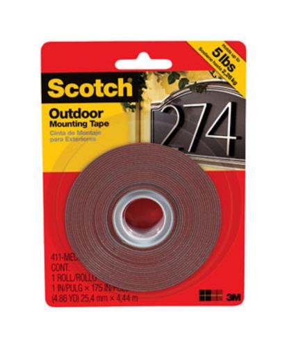 "Scotch 411-MEDUIM Outdoor Mounting Tape, 1"" x 175"", Black"
