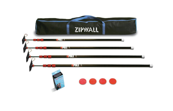 Zip Wall ZP4 ZipPole Spring Loaded Pole Kit with Carry Bag
